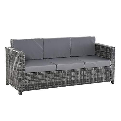 Outsunny Poly-Rattan Sofa mit Kissen 3-Sitzer Garten Loungesofa Metall Polyester Grau 185 x 70 x 80 cm