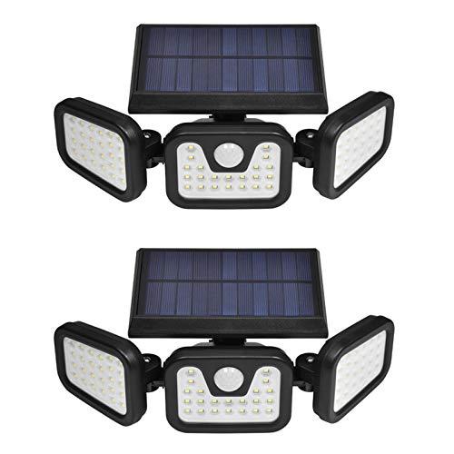 Luces solares de seguridad, luz con sensor de movimiento de 3 cabezales, luces de inundación 74LED ajustables Focos para exteriores 360 ° giratorio IP67 a prueba de agua para porche, jardín, patio