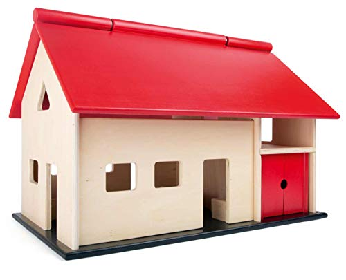 small foot 8502 Großer, Holz, mit aufklappbarem Dach und Schwingtoren, Bauernhof-Spaß für Mädchen & Jungen Spielzeug