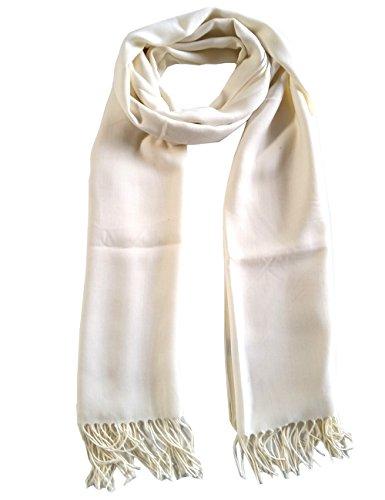 Leslii weisser langer Damen-Schal Fransen-schal Wickelschal Uni Creme Weiß mit Viskose hell heller eleganter made in Italy Europe