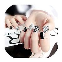 光沢のあるキラキラ偽爪短い黒偽爪ゴールドスパンコールパッチ爪人工爪完全なヒント偽もの、Style2