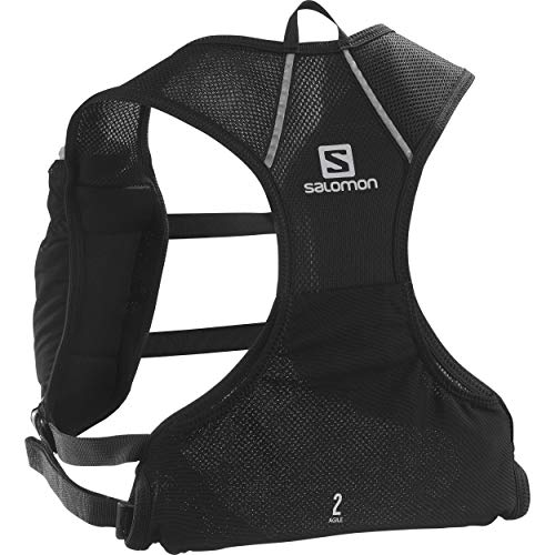 SALOMON Agile 2 Set Mochila de Running Ligera 2L, 2 Botellas SoftFlask 50 ml Incluidas, Unisex-Adult, Negro, 2 L