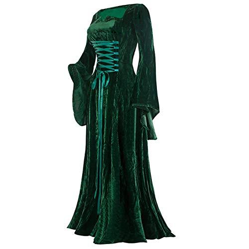KMKM Vestido medieval para mujer, con mangas de trompeta, de terciopelo, para Halloween, carnaval, bruja, vampiro, gtico, cosplay, fiesta, maxivestido, verde, S
