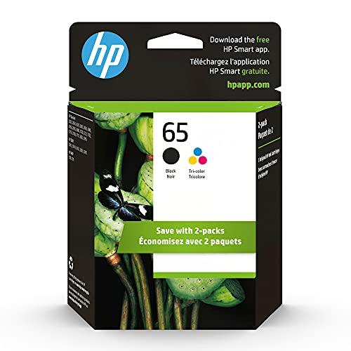 HP 65 | 2 Ink Cartridges | Black, Tri-color | Works with HP DeskJet 2600 Series, 3700 Series, HP ENVY 5000 Series, HP AMP 100, 120, 125, 130 | N9K01AN, N9K02AN