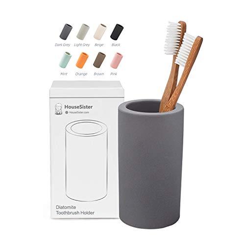 HouseSister Organic Diatomite Toothbrush Toothpaste Makeup Brushes Razors Holder Grey Bathroom Countertop Organizer Stand Cup Organizer Dark Grey