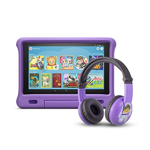 Fire HD 10 Kids Edition Tablet | 10.1' 1080p Full HD Display, 32 GB, Purple Kid-Proof Case + Made for Amazon Bluetooth BuddyPhones, PlayTime in Purple – Ages (3-7)