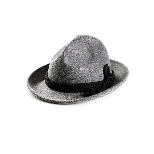 ALMBOCK Trachtenhut Herren grau dunkelgrau H5 - Herren Filzhut in der Farbe dunkelgrau in 57 59 und 61 cm - Wasen Wiesn Hut als Accessoire für Herren
