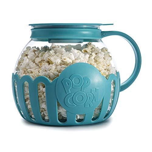 Ecolution Original Mikro-Pop-Pop-Popcorn-Popper Borosilikatglas, 3-in-1 Silikondeckel, spülmaschinenfest, BPA-frei, 3 Quart Familien-Größe, Blaugrün