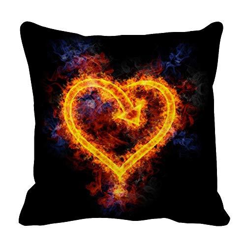 Flame of Love - Funda de almohada con diseño de corazón