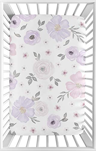 Sweet Jojo Designs Lavender Purple, Pink, Grey and White Baby Girl Fitted Mini Portable Crib Sheet for Watercolor Floral Collection - Rose Flower - For Mini Crib or Pack and Play ONLY