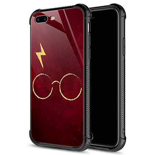 iPhone 8 Case,Harry Glass Flash Red iPhone 7 Cases iPhone SE 2020 Cases for Men Boys Teenagers,9H Tempered Glass Graphic Design Shockproof Anti-Scratch Tempered Glass Case for Apple iPhone 7/8/SE2