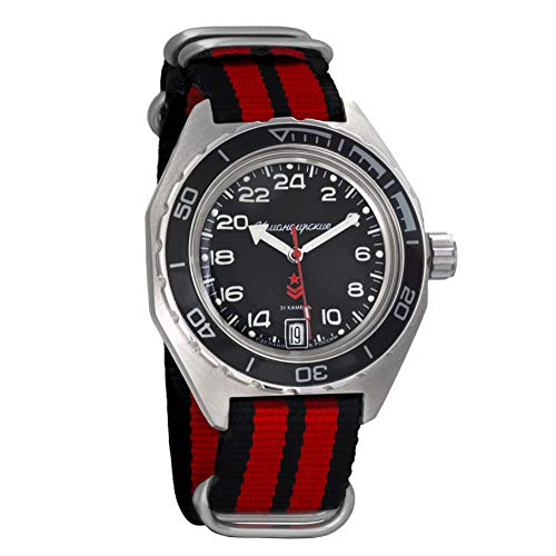 Vostok Komandirskie Automatic 24 Hour Dial Russian Military Wristwatch WR 200m (650541 Black+red Band)