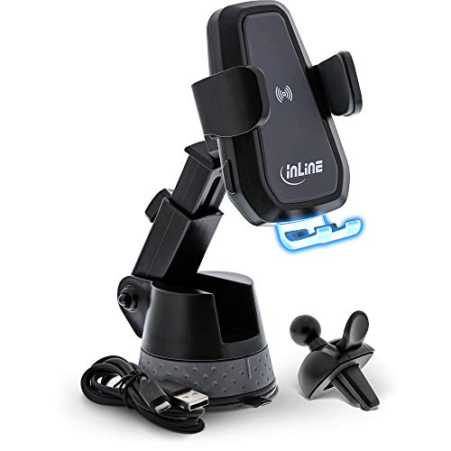 InLine 23156E KFZ Smartphone Halterung, ONE TOUCH QI, universal, ausziehbar, Wireless Charger
