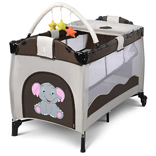 Great Features Of Portable Deluxe Baby Crib Playpen Travel Infant Bassinet Bed Foldable Coffee Safety, Spacious Play Yard for Rest or Play, Zip-Closed Channel Provide