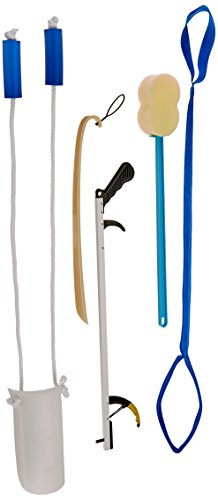 "Sammons Preston 34386 Hip & Knee Equipment Kit with Assorted Daily Living Tools Including 32"" Reacher, Sock Aid with Handle, Plastic Shoe Horn, Bendable Contoured Handled Sponge, and Rigid Leg Lifter"