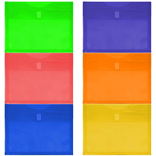 JAM PAPER Plastic Expansion Envelopes with Hook & Loop Closure - Letter Booklet - 9 3/4 x 13 with 1 Inch Expansion - Assorted Colors - 6/Pack