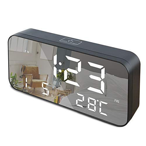 """GLOUE LED Digital Alarm Clock, 9.6"""" Large Display Alarm Clocks for Bedrooms with USB Charging Port and Battery Backup, Temperature, Date, Snooze, Adjustable Brightness, 12/24Hr, Simple Operation"""