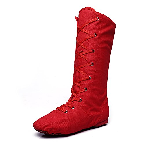 MSMAX Adult Dance Boot Lace up Ballet Jazz Sneakers Red 7.5 M US Women