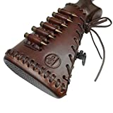 Full Grain Cowhide Leather Rifle Buttstock Ammo with Cartridge Holder for .45-70 308 30-06, Hand Stiched Ammo Sleeve (Brown)