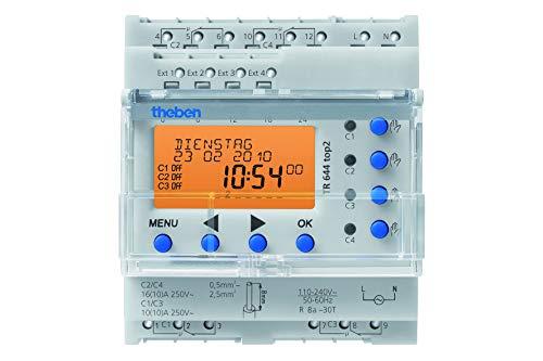 Theben 6440100 - TR 644 top2 - Interruptores digitales con programación anual y astronómica - 4 canales - 4 entradas externas - Carril DIN
