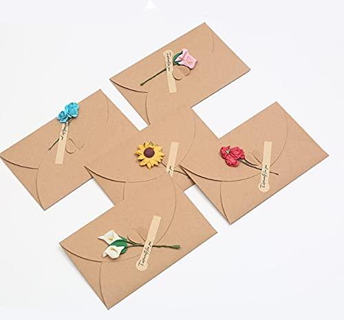 Mlysnd Sobres Kraft, 15 Piezas Postal San Valentin Postal Cumpleaños con Etiqueta de Flores Secas y Papel de Carta para Bodas de Cumpleaños, Tarjetas de Agradecimiento (5 Estilos)