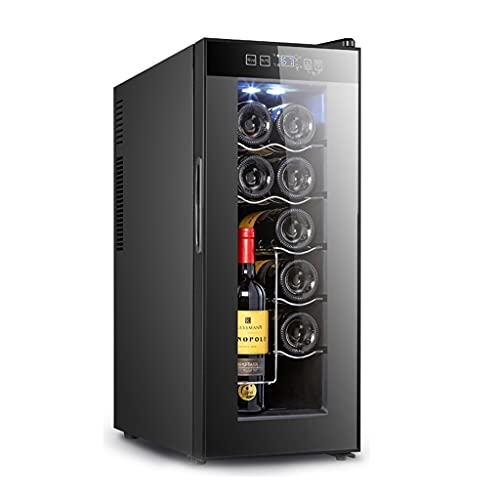Bodega de Vino Independiente, refrigerador de Vino de 10 Botellas, refrigerador de Vino controlado por Temperatura, Barra de Hielo para el hogar pequeño, refrigeración electrónica