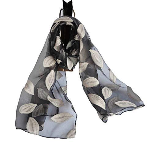 BoyYang Damen Schal Seiden-Tuch mit Blatt drucken/Elegantes Accessoire für Frauen auch als Stirnband/Seiden-Schal/Halstuch/Schulter-Tuch oder Umschlagstuch einsetzbar/Muslim Hijabs(A,200 * 70CM