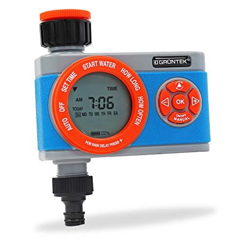 GRÜNTEK Irrigazione Automatica Programmatore Digitale con Timer Automatico. Computer per Irrigazione Multifunzione e Durata da 1 min a 360 min