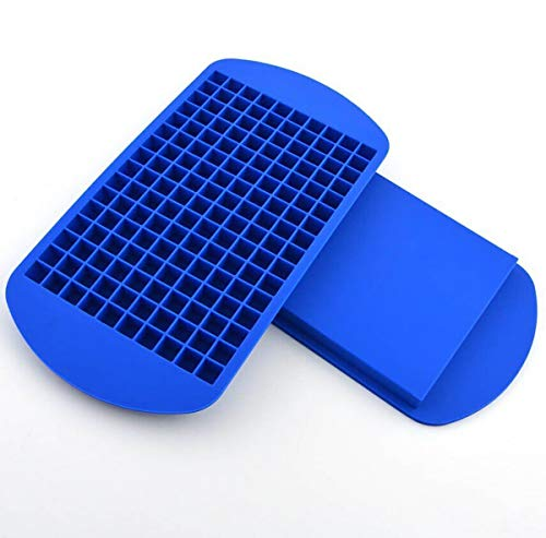 160 Mini Ice Cube Grids Bourbon Tiny Ice Tray Maker Small Flexible Food Grade BPA Free Silicone, Stackable, Reusable Mold Best for Keeping Your Drink or Whiskey Refreshingly Cold - Blue by ICE•X 160
