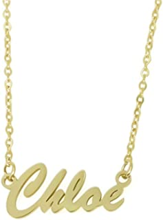 Elefezar Personalized Name Necklace Pendant Custom Made Necklace with Nameplate 18K Gold Plated Jewelry for Women