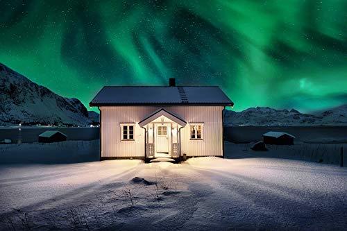 Cuadro de cristal acrílico en la mejor calidad de galería. Lámpara de Polar Noruega con casa de madera/Aurora borealis. Cuadro de cristal acrílico Cuadro artístico de pared de cristal para fotografía.