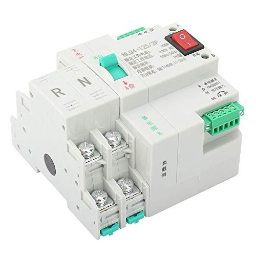Interruptor de transferencia automática de doble potencia AC 230V 2P 50 / 60Hz Tamaño mini Montaje en riel DIN para fuente de alimentación(100A)