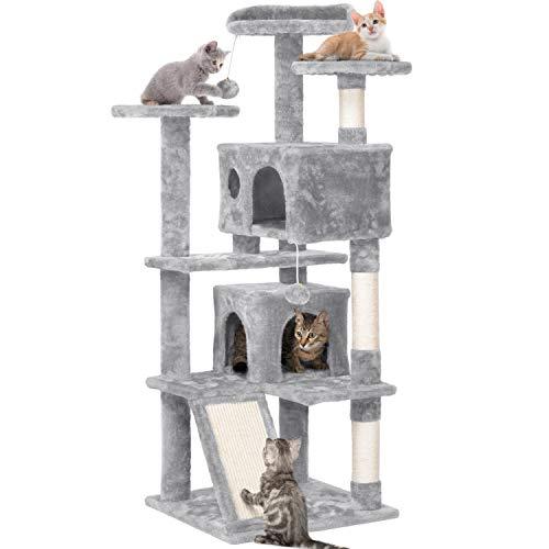 Yaheetech Rascador para Gatos de 137 cm Árbol para Gatos Castillo Juego de Gato Gatitos Mascotas, Bolas de Juego, con Plataforma Nidos, Gris Claro