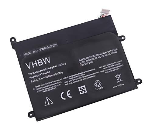 vhbw Batterie 3200mAh (7.4V) pour Tablette Lenovo ThinkPad 1838, 1838 10.1, 1838-22U, 1838-25U comme 42T4963, 42T4964, 42T4985.
