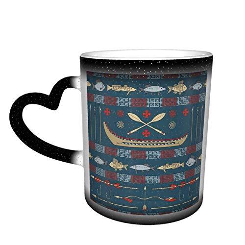 Taza de café de cerámica que cambia el calor, taza de té mágica sensible a la pesca nativa americana para café, té, leche o cacao para