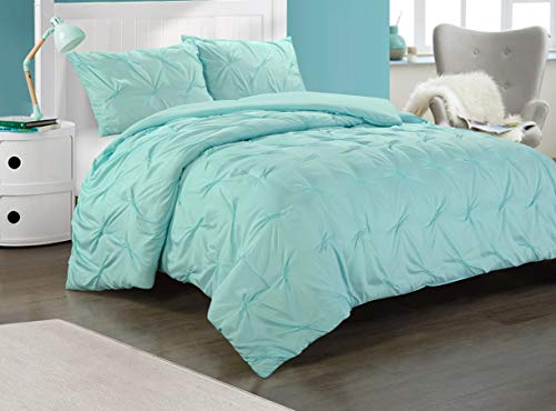 Heritage Club Ultra Soft – Sierra – Hypoallergenic – for Boys and Girls – All Season Breathable 3 Piece Kids and Teen Solid Pintuck Comforter Set – Alternative Microfiber –, Full, Mint