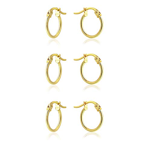 Sterling Silver Thin Lightweight 3 Pairs Set of Small Round Tube Hoop Earrings, 12mm (Yellow Gold)