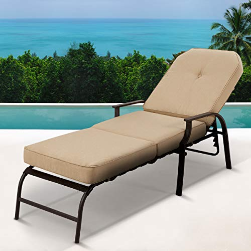 U-MAX Adjustable Outdoor Chaise Lounge Chair Patio Lounge Chair Recliner Furniture with Armrest and Cushion for Deck, Poolside, Backyard (Beige)