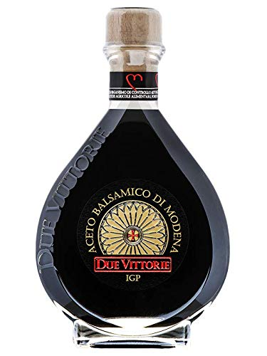Due Vittorie Oro Gold Balsamic Vinegar of Modena in Glass Decanter - 8.45 fl oz 250ml with Cork Pourer - Special Edition