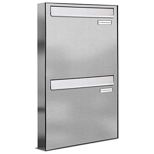 AL Briefkastensysteme 2er Briefkasten für Tür/Zaundurchwurf in V2A Edelstahl, 2 Fach, wetterfeste Premium Doppel-Briefkasten-Anlage Design modern