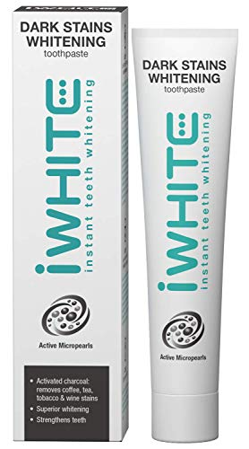 iWhite Dark Stains Whitening Zahnpasta - Superior Whitening - Entfernt Flecken - Erfrischt den Atem - Hergestellt mit Aktivkohle - Klinisch geprüfte Inhaltsstoffe - Aktive Mikroperlen