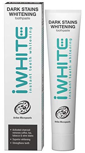 Pasta de dientes blanqueadora iWhite Dark Stains - Blanqueamiento superior - Elimina manchas - Refresca el aliento - Hecho con carbón activado - Ingredientes clínicamente probados