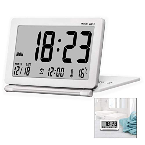 iwobi Despertador de Viaje, Diseño Moderno Plegable, Escritorio portátil Pantalla LCD Digital con música Función de Despertador Temperatura Pantalla de Tiempo Reloj Despertador Digital