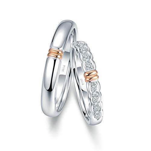 Daesar Anillos Compromiso Parejas Oro 18K Plata Anillos Redondo con Dos Tonos Diamante Blanco 0.056ct Talla Mujer 11 & Hombre 15