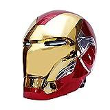 SPOTOR El Casco ElectróNico Iron Man con Base No Luminosa Puede Usar MáScara Casco Iron Man 1: 1 Accesorios PelíCula SuperhéRoe con Luces Ojos Regalo para NiñOs,MáScara Apertura Y Cierre