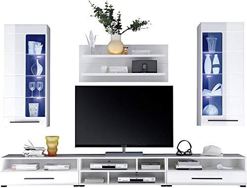 Avanti Trendstore - Wohnwand mit LED Beleuchtung in weiß/Hochglanz Dekor, ca. 270x200x43 cm