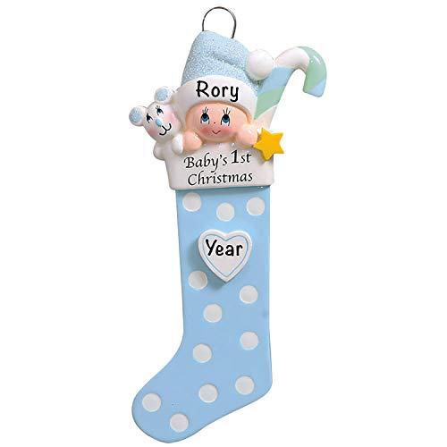 Baby's First Christmas Baby Keepsake Baby 2021 Ornament – Baby Boy First Christmas Ornament – Blue Baby Boy 1st Christmas Stocking Ornaments for Baby Christmas – My First Christmas Baby Boy Ornament