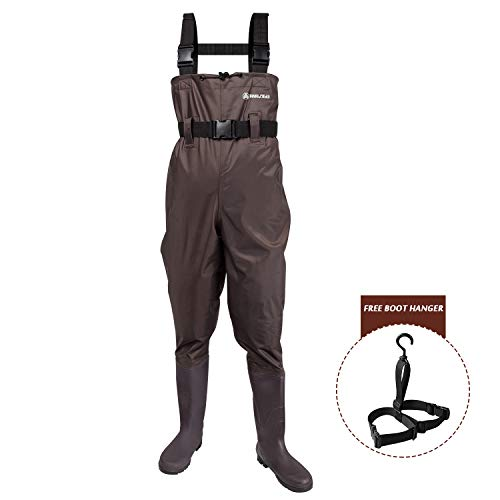 ANAZIGO Fishing Chest Waders for Men and Women with Boots,Breathable Waterproof Nylon and PVC Chest Wader with Boot Hanger