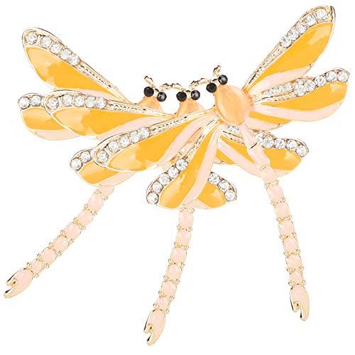 Pssopp Broche de libélula de 3 Piezas, Broche de Diamantes de imitación de Cristal, broches de Moda para Mujer, broches de Boda para Mujer(Amarillo)