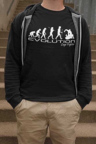 Evolution of a cage fighter Herren Mens ufc mma martial arts funny unique gift present t shirt Black shirt white print Abbildung 3
